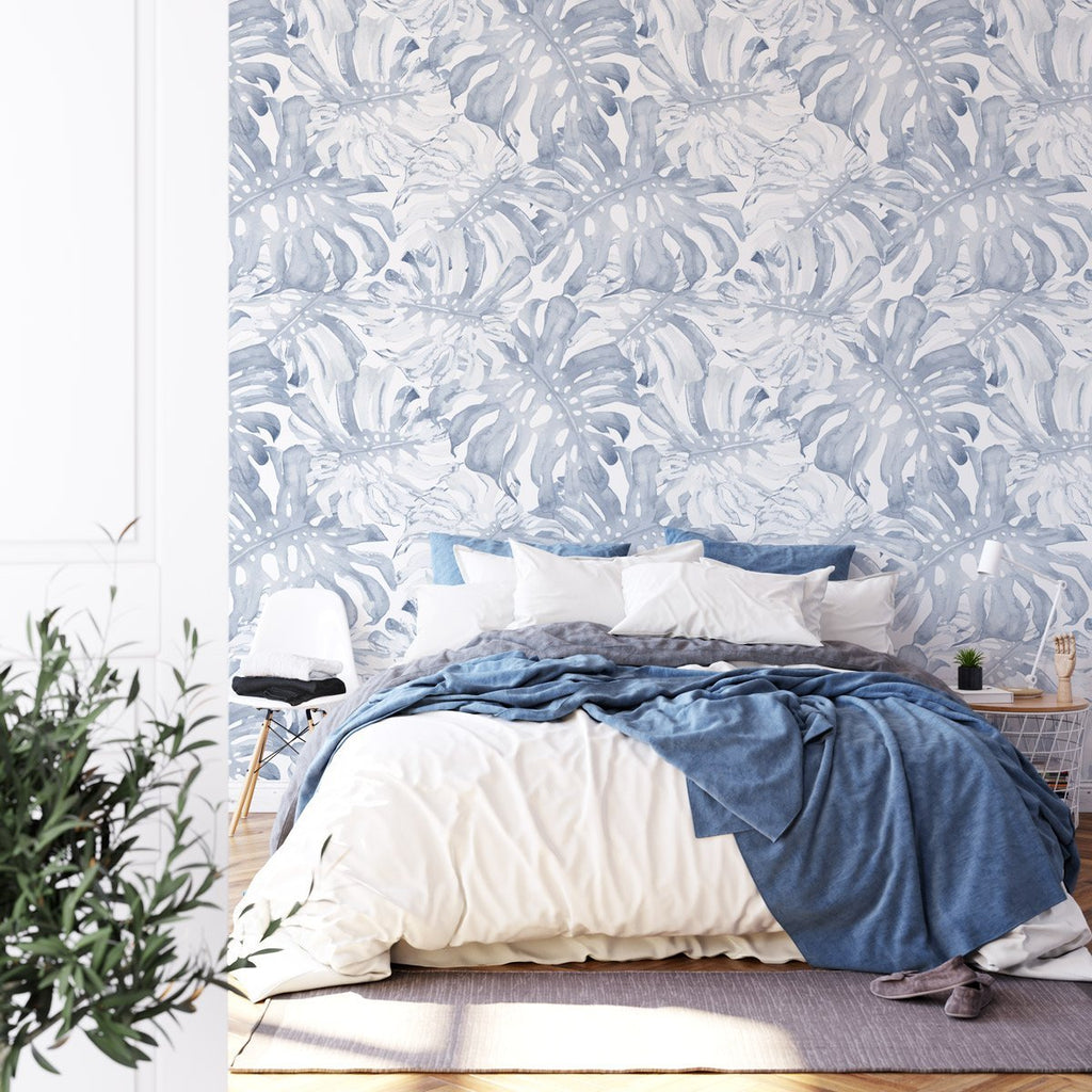 Blue Monstera Wallpaper - Olive et Oriel