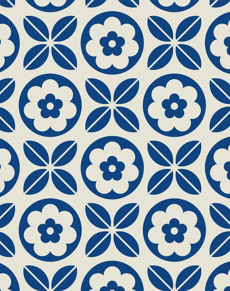 Blue Tiling Wallpaper - Olive et Oriel