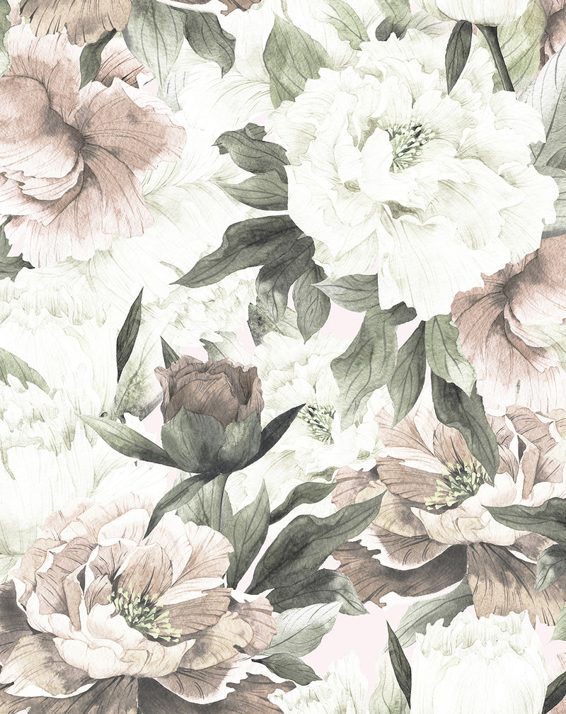 Blush Peony Floral Wallpaper Mural