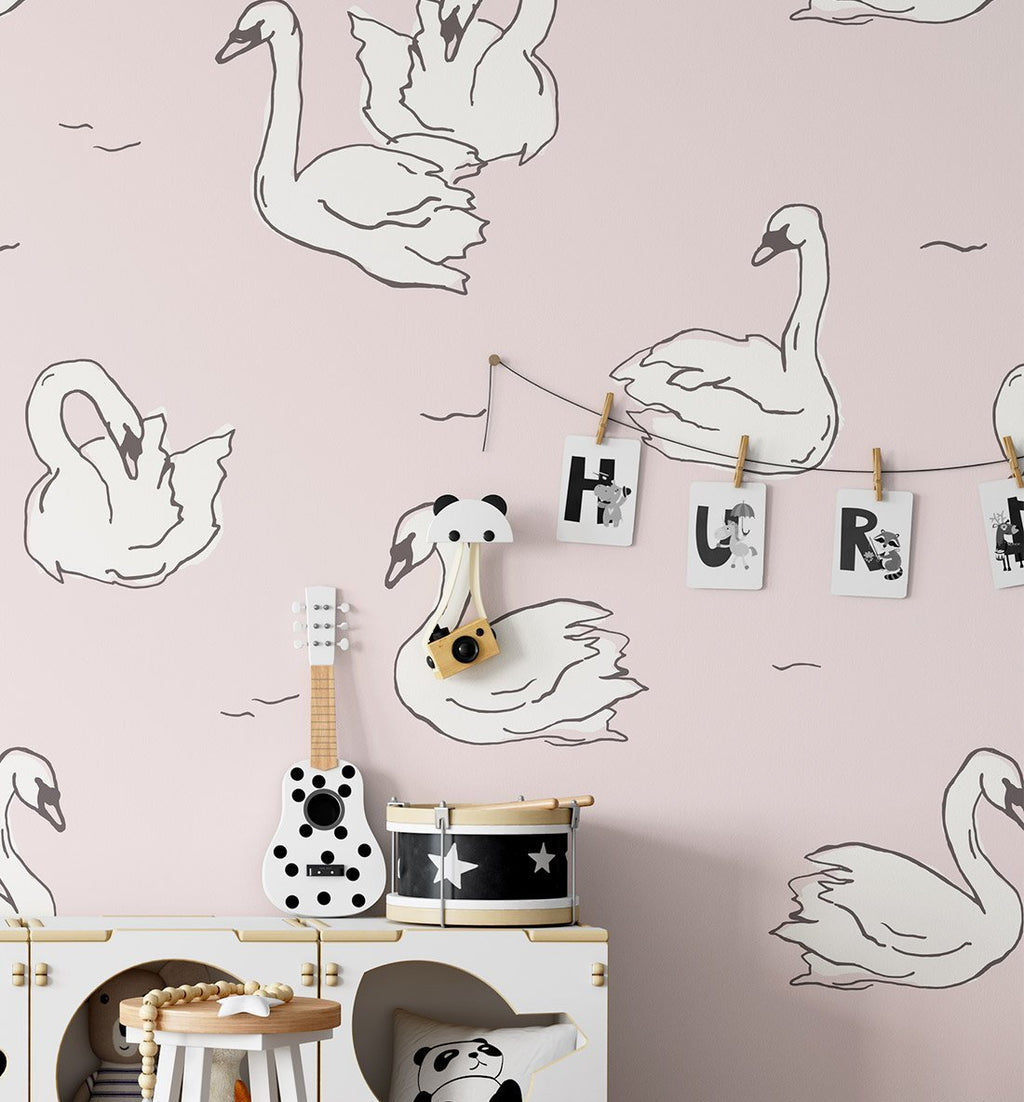 Blushing Swans Wallpaper - Olive et Oriel