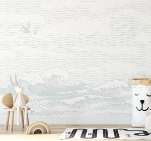 Byron Waves Wallpaper Mural - Olive et Oriel