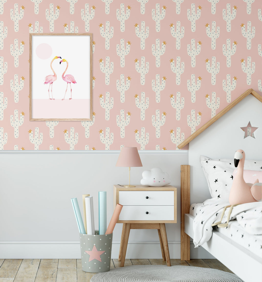 Cactus on Pink Wallpaper - Olive et Oriel