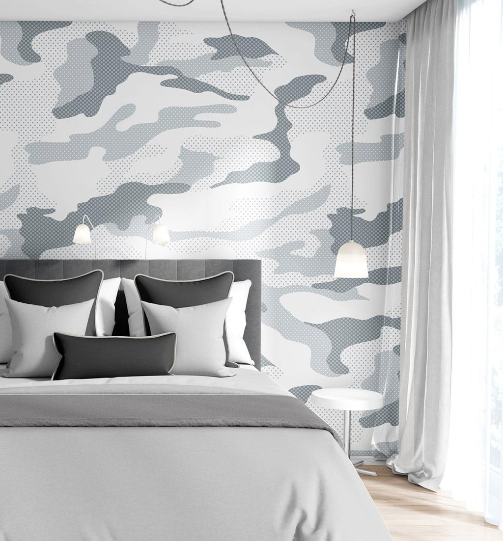 Camouflaged in Grey Wallpaper - Olive et Oriel