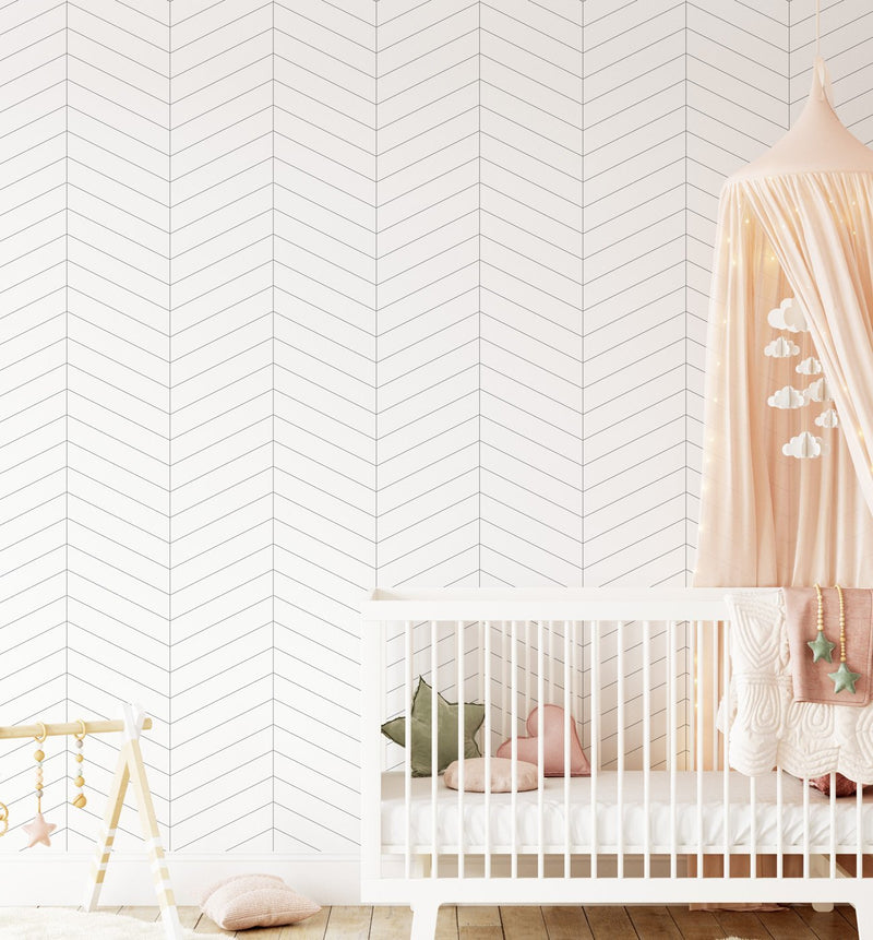 Classics: Simple Chevron Wallpaper - Olive et Oriel