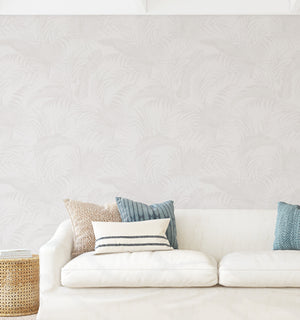 Coastal Luxe Palms Wallpaper | Warm Grey - Olive et Oriel
