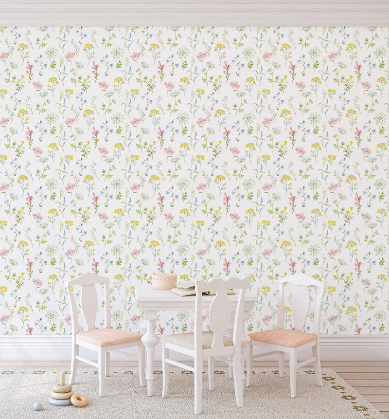 Country Garden Flowers Wallpaper - Olive et Oriel
