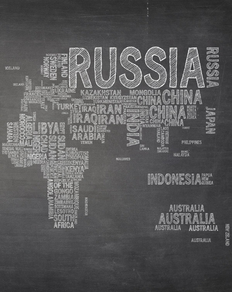 Country Names Map in Chalk Wallpaper Mural - Olive et Oriel