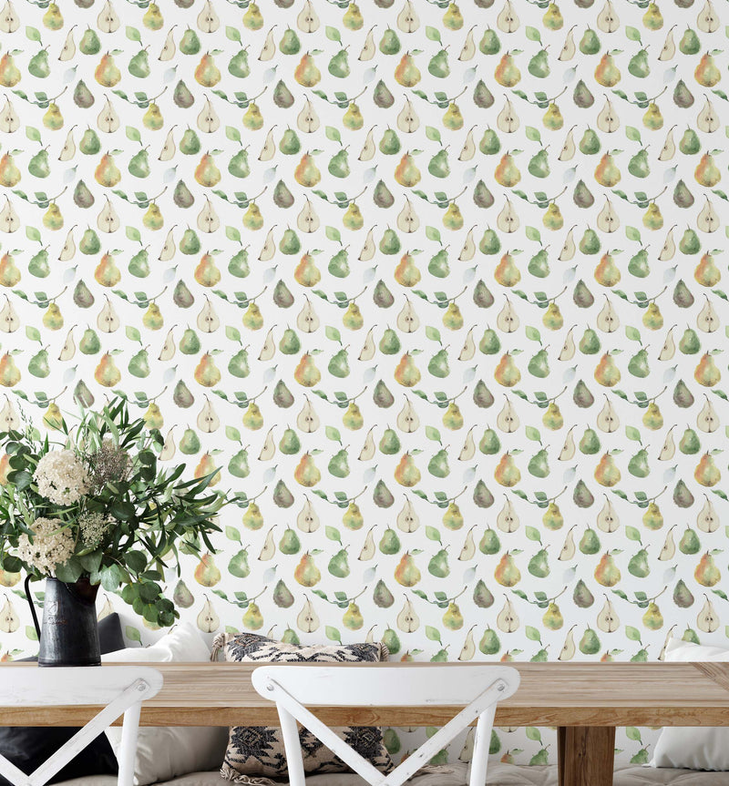 Country Pears Wallpaper - Olive et Oriel