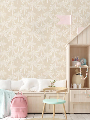 Cruisey Palms in Biscuit Wallpaper - Olive et Oriel