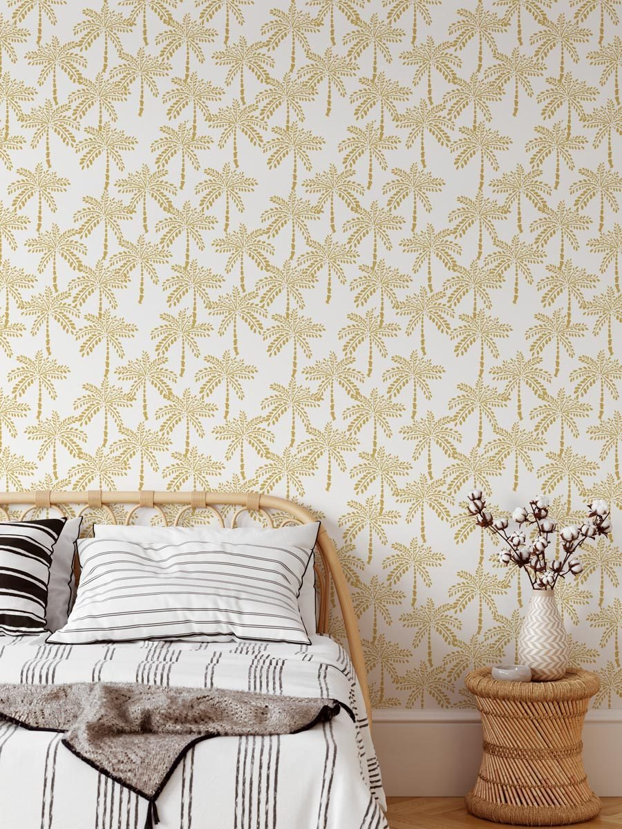 Cruisey Palms in Bronze Wallpaper - Olive et Oriel