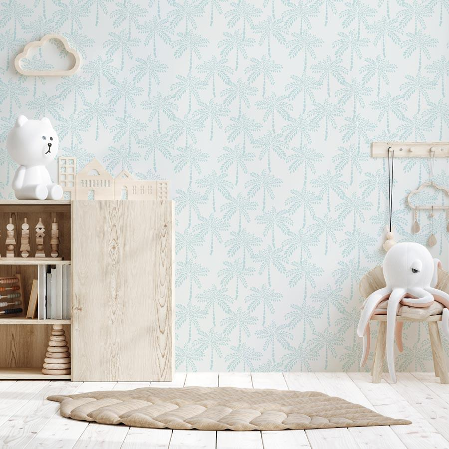 Cruisey Palms in Sky Blue Wallpaper - Olive et Oriel