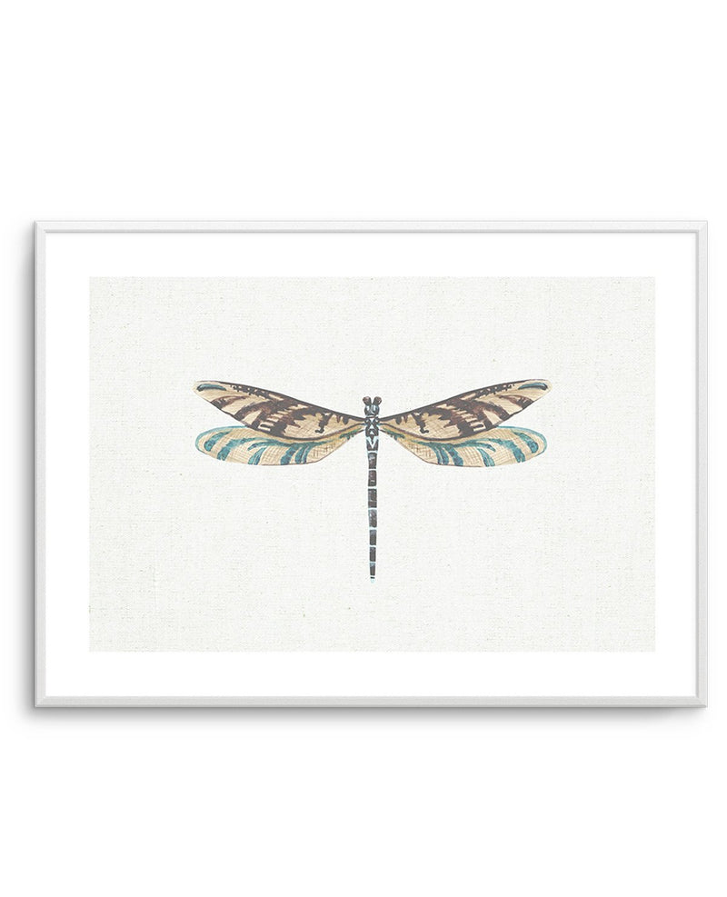Dragonfly on Linen III - Olive et Oriel