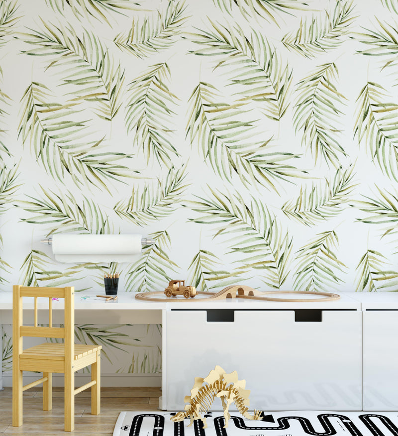 Dried Palm Leaf Wallpaper - Olive et Oriel