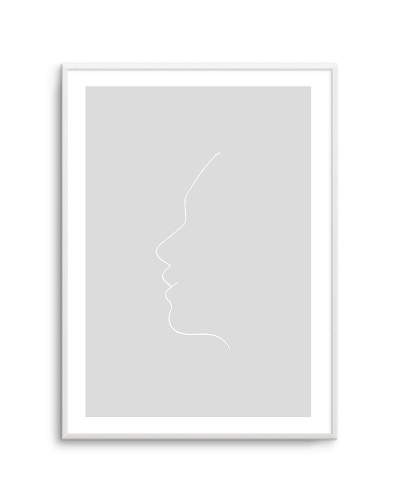 Face On Grey | Line Art - Olive et Oriel | Shop Art Prints & Posters Online
