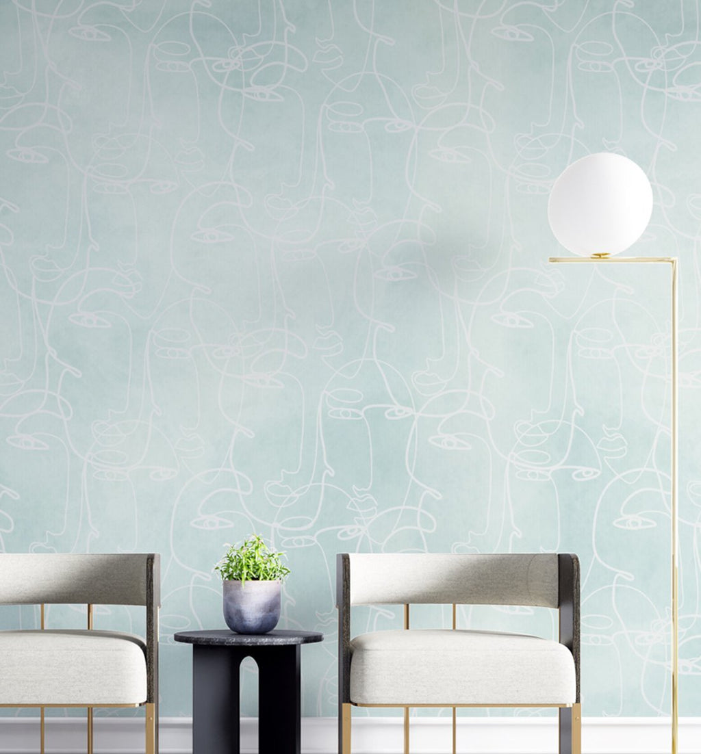 Faces in Seafoam Wallpaper - Olive et Oriel