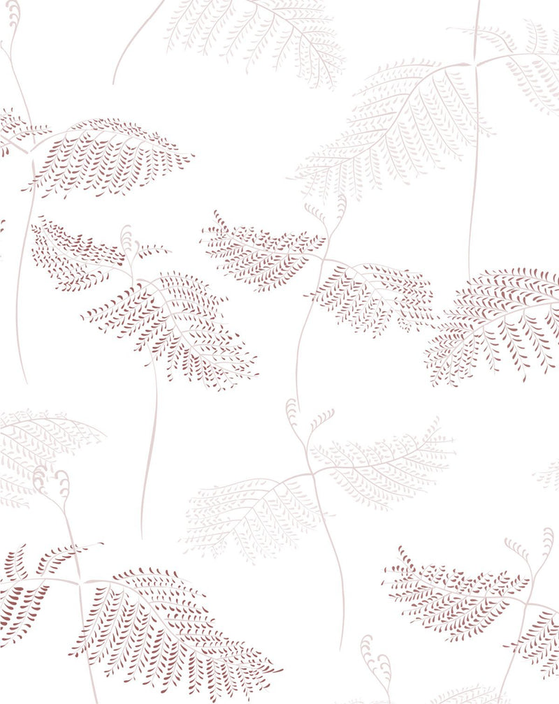 Ferns in Burgundy & Beige Wallpaper - Olive et Oriel