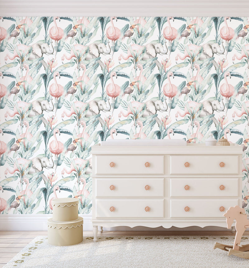 Flamingo in the Palms Wallpaper - Olive et Oriel