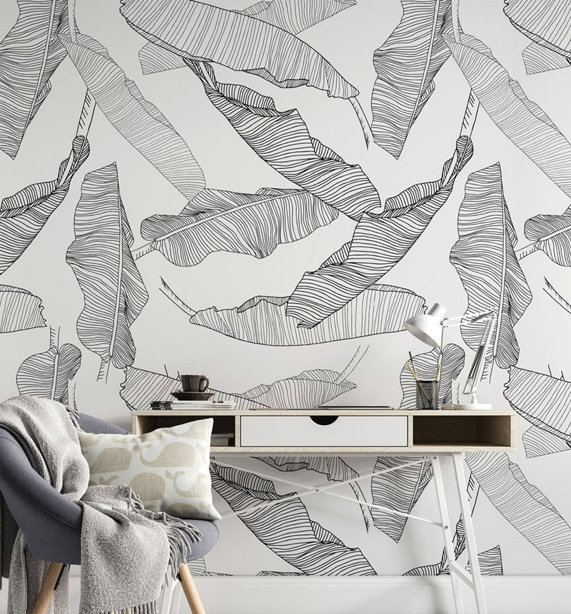 Floating Palm Leaves Wallpaper - Olive et Oriel