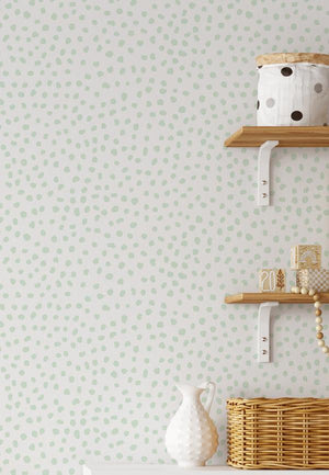 Gigi's Dots Wallpaper in Sage - Olive et Oriel