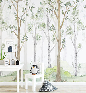 Hidden Forest Wallpaper Mural - Olive et Oriel