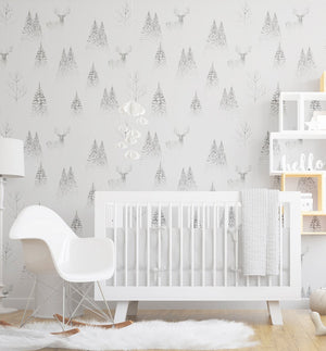 In the Pine Forest Wallpaper - Olive et Oriel