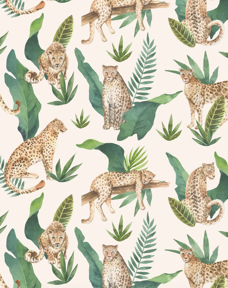 Jungle Leopards Wallpaper - Olive et Oriel