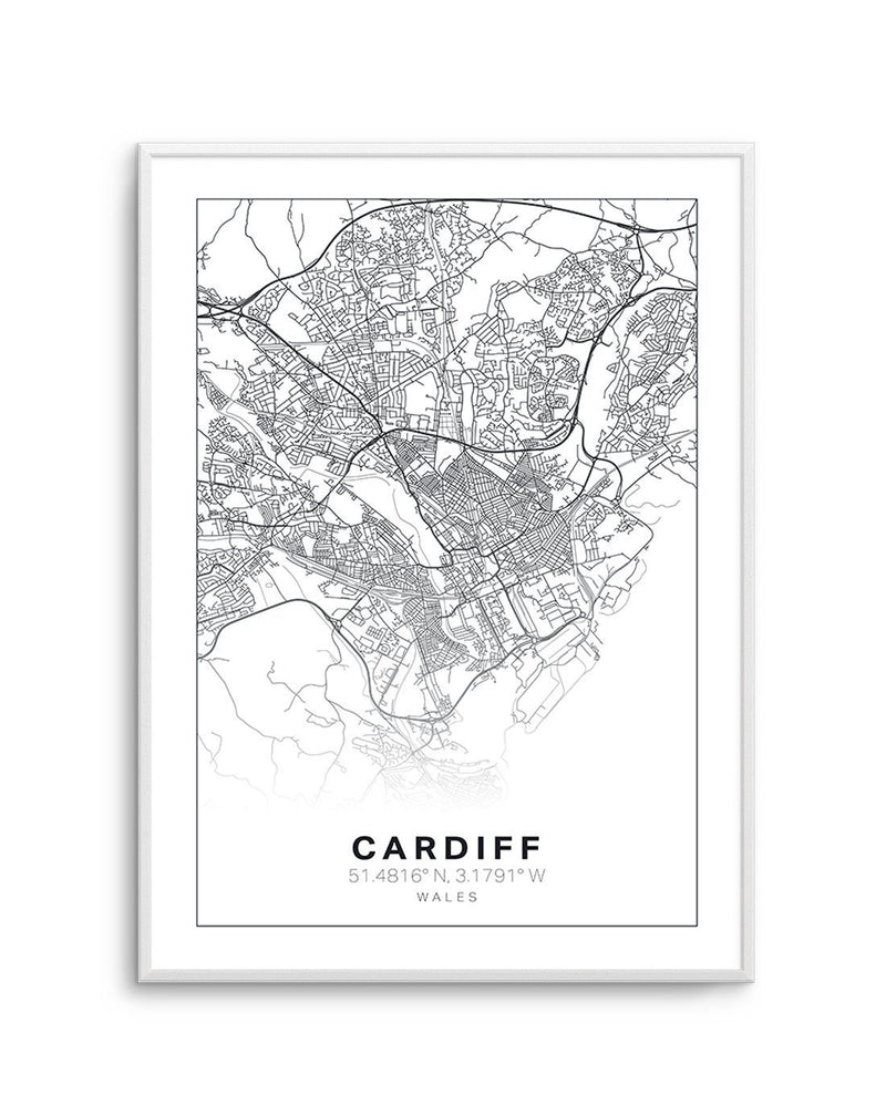 Line Art Map Of Cardiff - Olive et Oriel