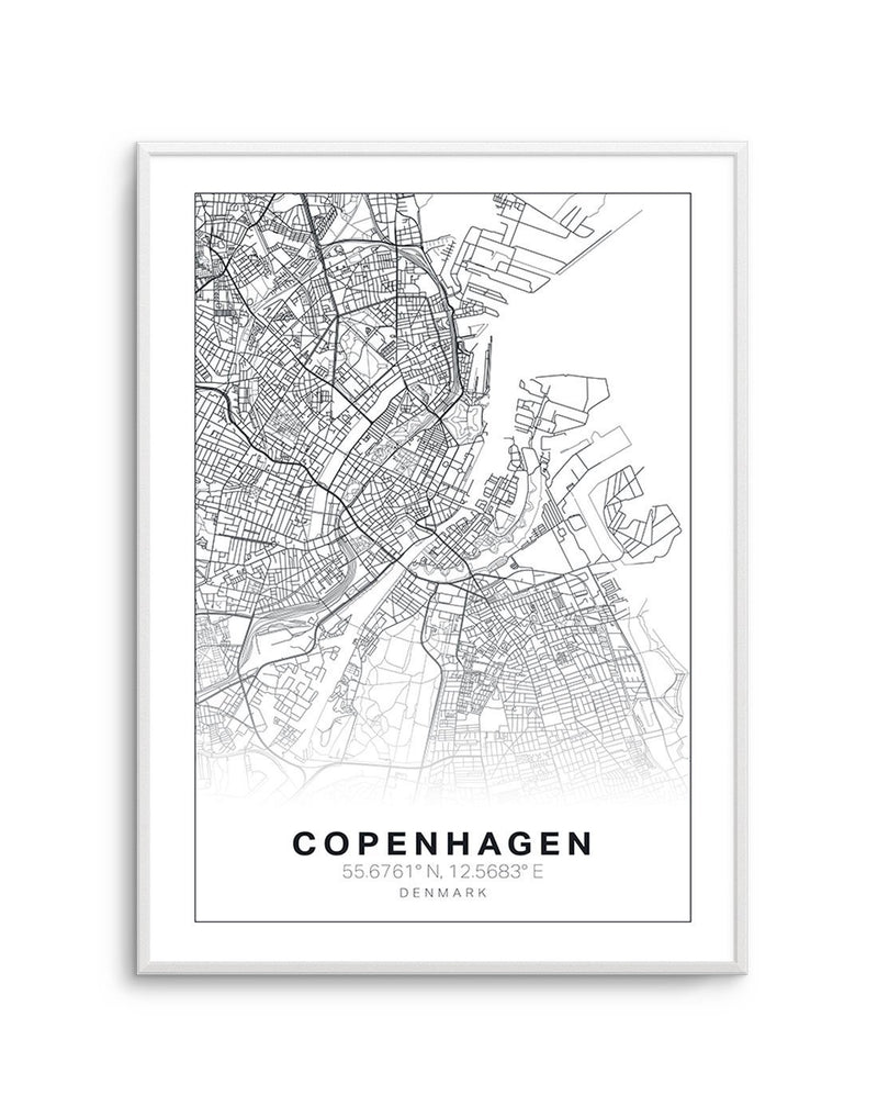 Line Art Map Of Copenhagen - Olive et Oriel