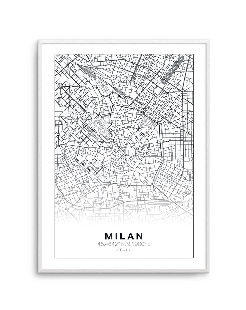 Line Art Map Of Milan - Olive et Oriel