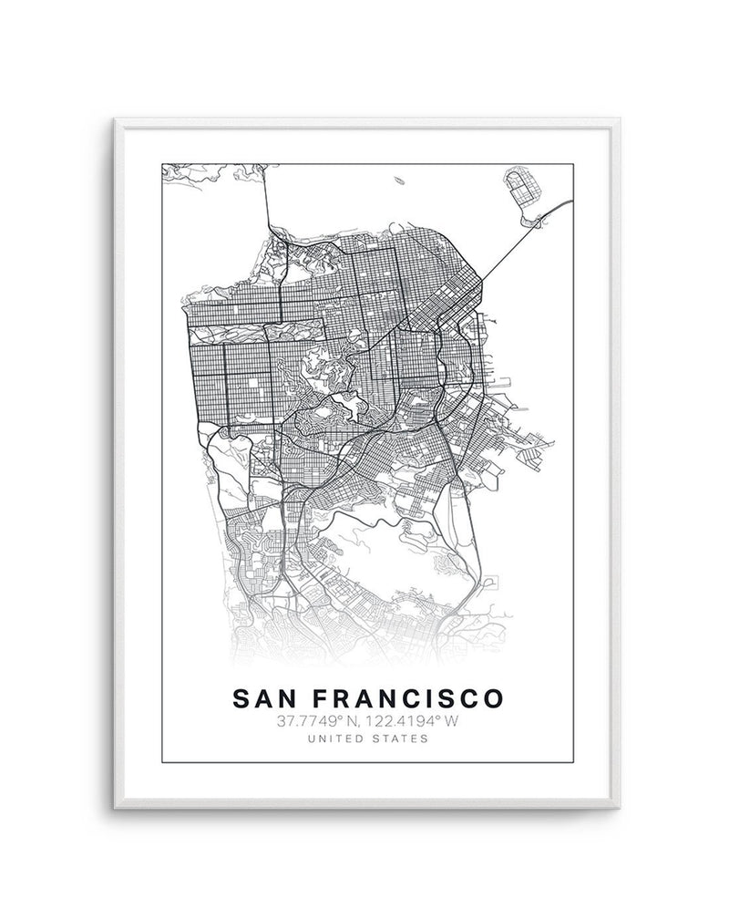 Line Art Map Of San Francisco - Olive et Oriel