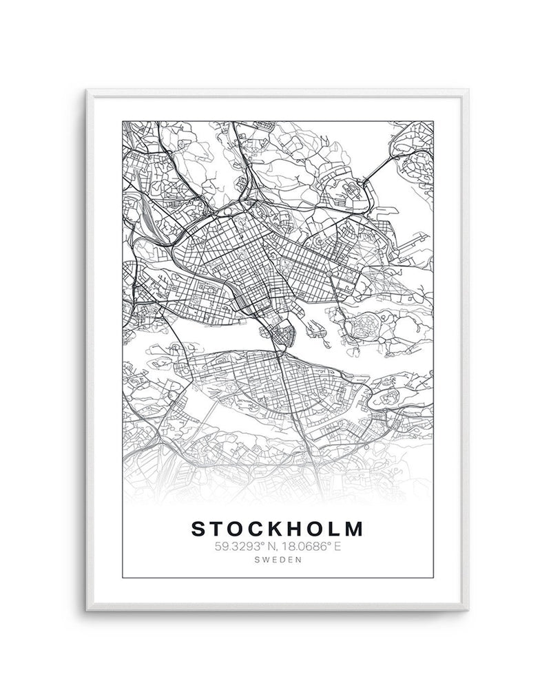 Line Art Map Of Stockholm - Olive et Oriel