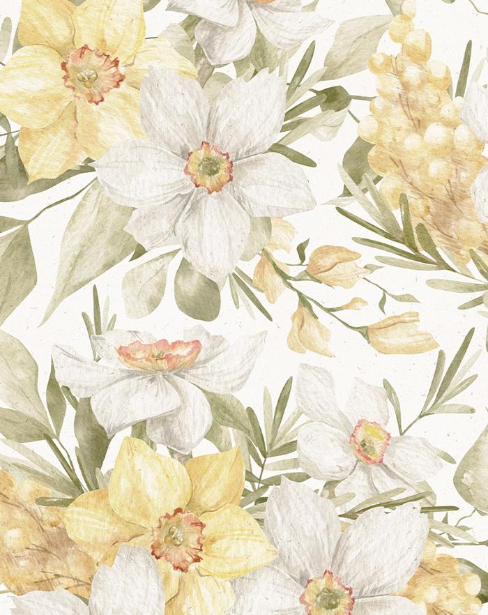 Little Golden Fleur Wallpaper - Olive et Oriel