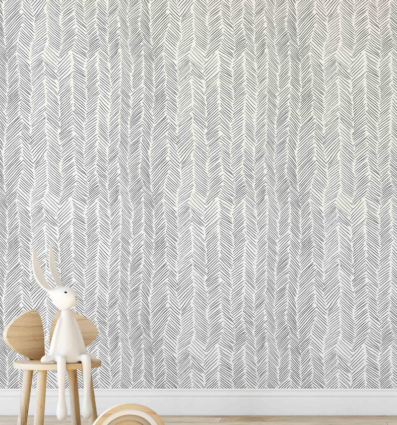 Little Herringbone Wallpaper - Olive et Oriel