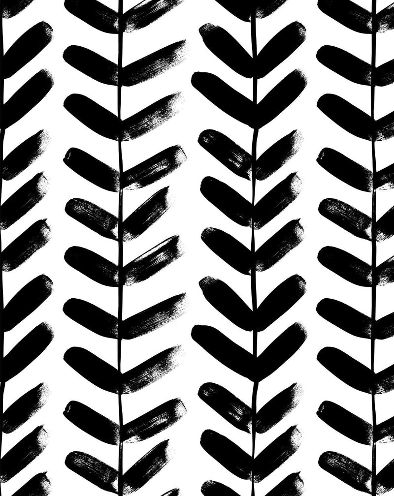 Little Leaf in Black Wallpaper - Olive et Oriel