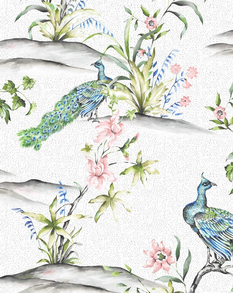 Luxe Peacock Wallpaper - Olive et Oriel