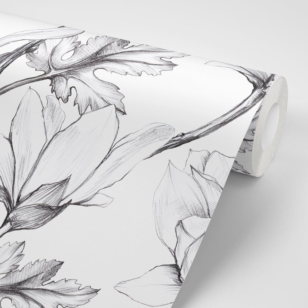 Magnolia Sketch Wallpaper - Olive et Oriel