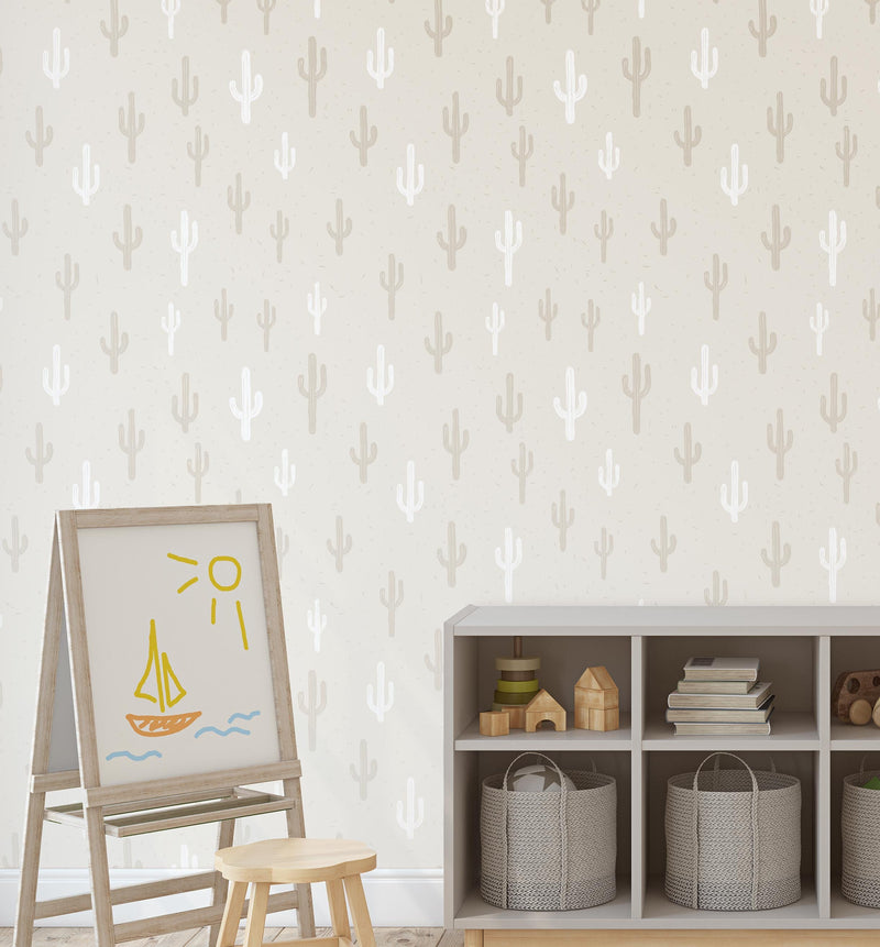 Neutral Cactus Wallpaper - Olive et Oriel