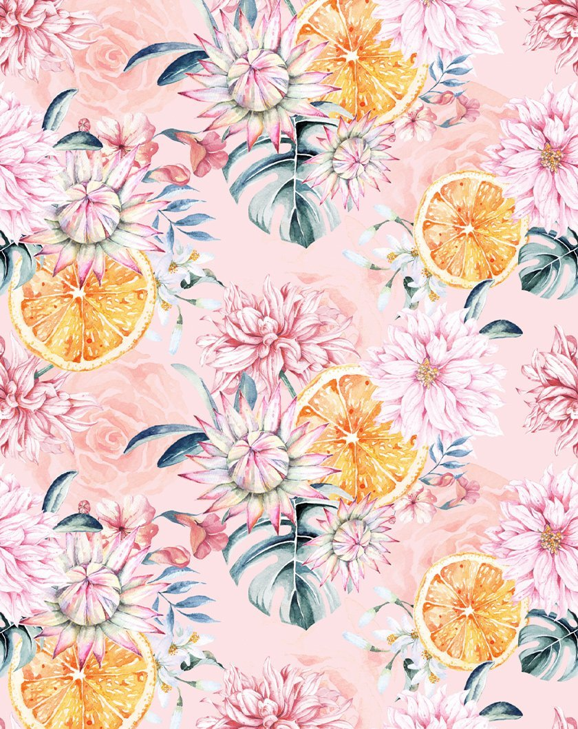 Orange Flowers Wallpaper - Olive et Oriel