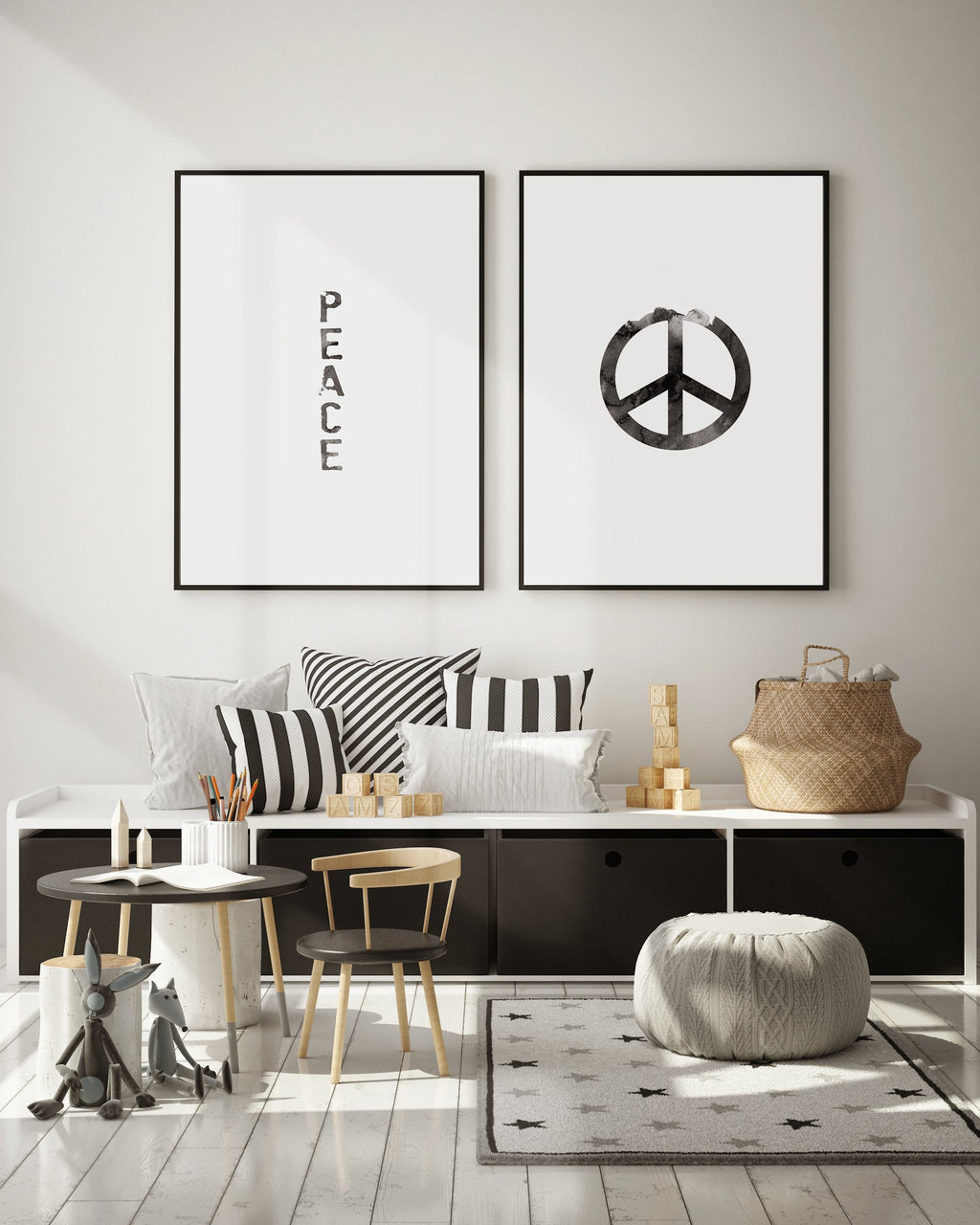 Peace | Black Watercolour - Olive et Oriel