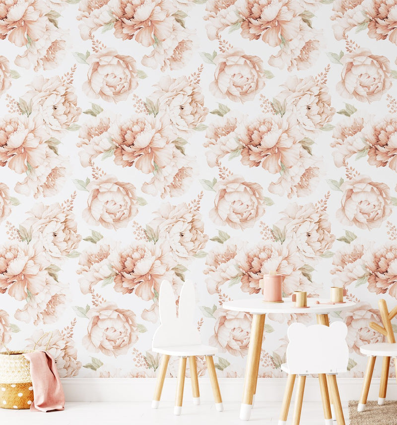 Peony Roses in Soft Terracotta Wallpaper - Olive et Oriel