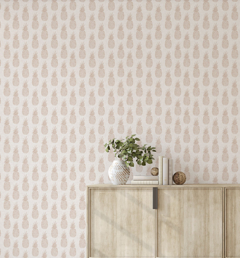 Pineapples on Linen Wallpaper - Olive et Oriel