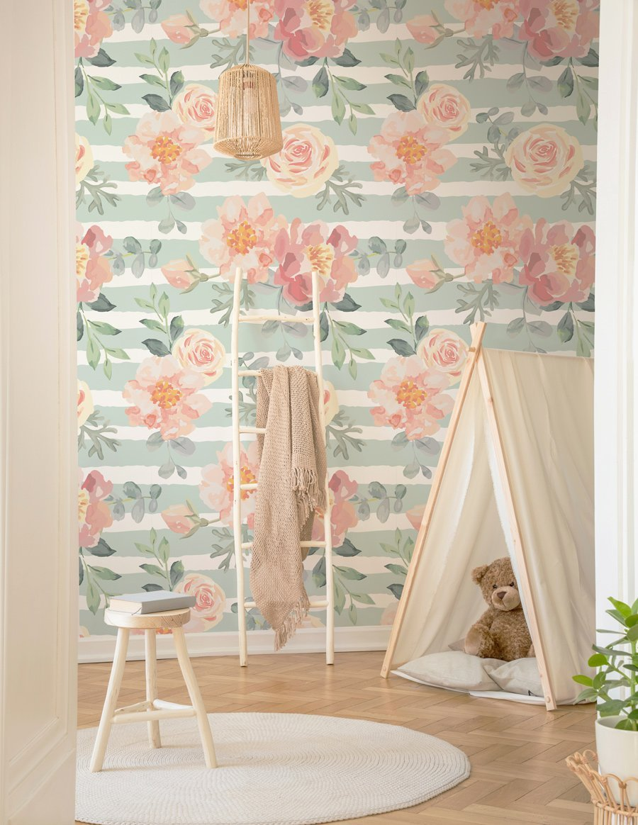 Sage Stripes & Pink Flowers Wallpaper - Olive et Oriel