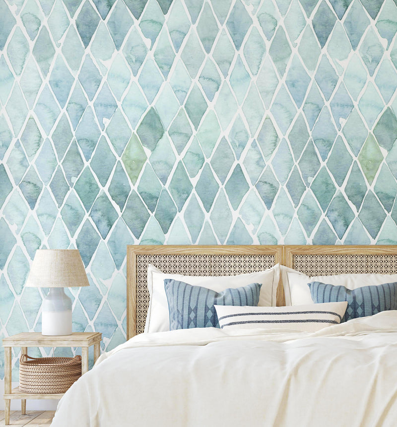 Seafoam Large Tile Wallpaper - Olive et Oriel