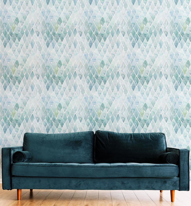 Seafoam Small Tile Wallpaper - Olive et Oriel