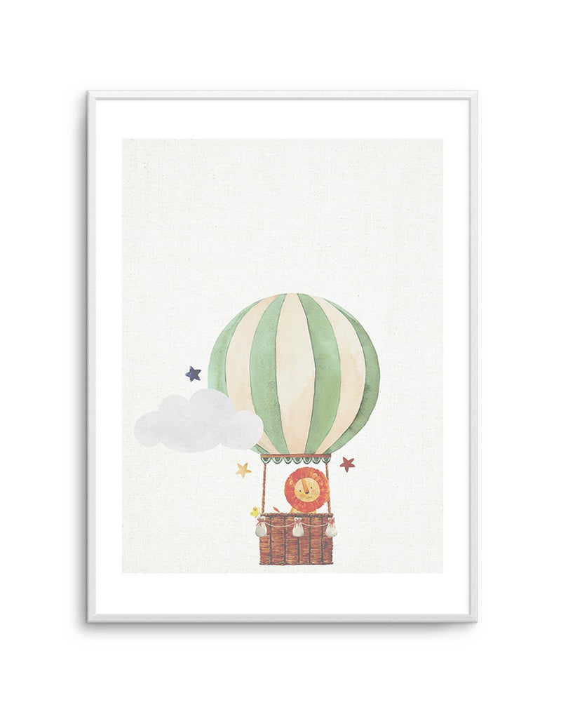 Sky Friends on Linen I - Olive et Oriel