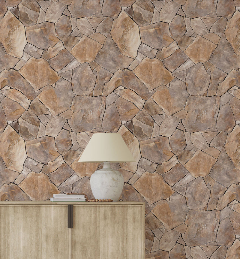 Stone Wall Wallpaper - Olive et Oriel