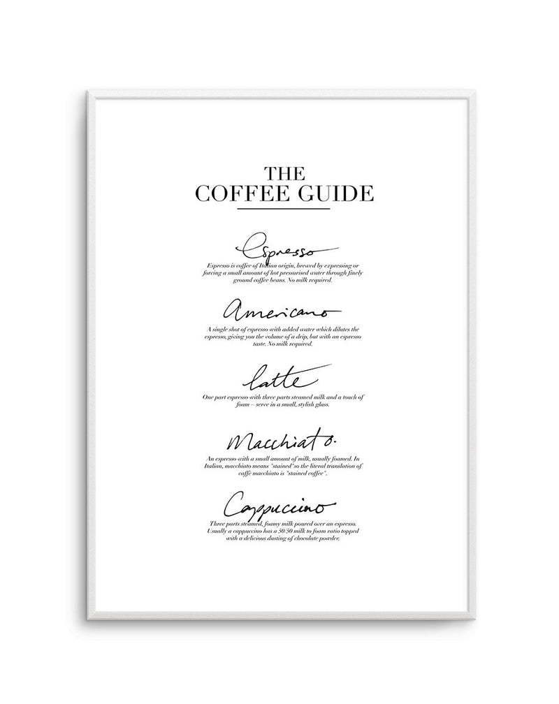 The Coffee Guide - Olive et Oriel | Shop Art Prints & Posters Online