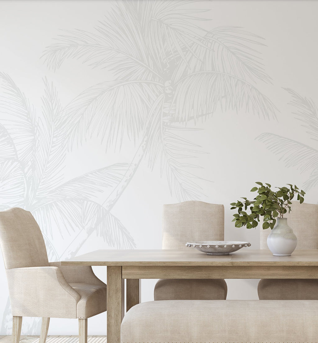 The Palms Wallpaper in Grey - Olive et Oriel