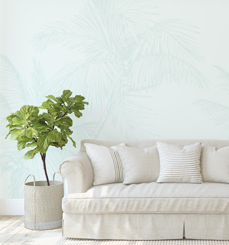 The Palms Wallpaper in Seafoam - Olive et Oriel