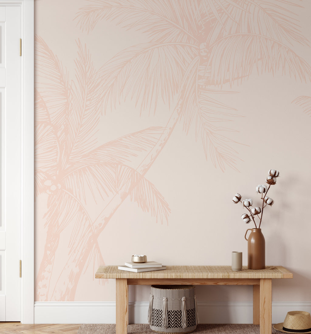 The Palms Wallpaper in Soft Terracotta - Olive et Oriel